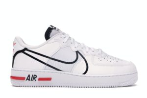 Air Force 1 React White Black Red